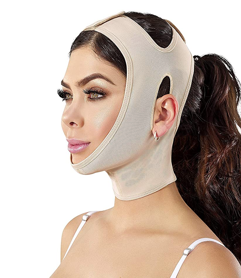 Chin strap Support Band Neck Bandage Mentonera Post Quirurgica Face Lifting Slimmer Chin Lift Facial Compression SCA001 (XX-Large, Beige)