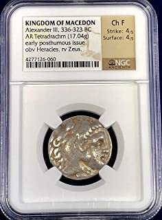 GR Kingdom of Macedon, Alexander The Great early posthumous issue 4x4 Silver Tetradrachm Ch F NGC