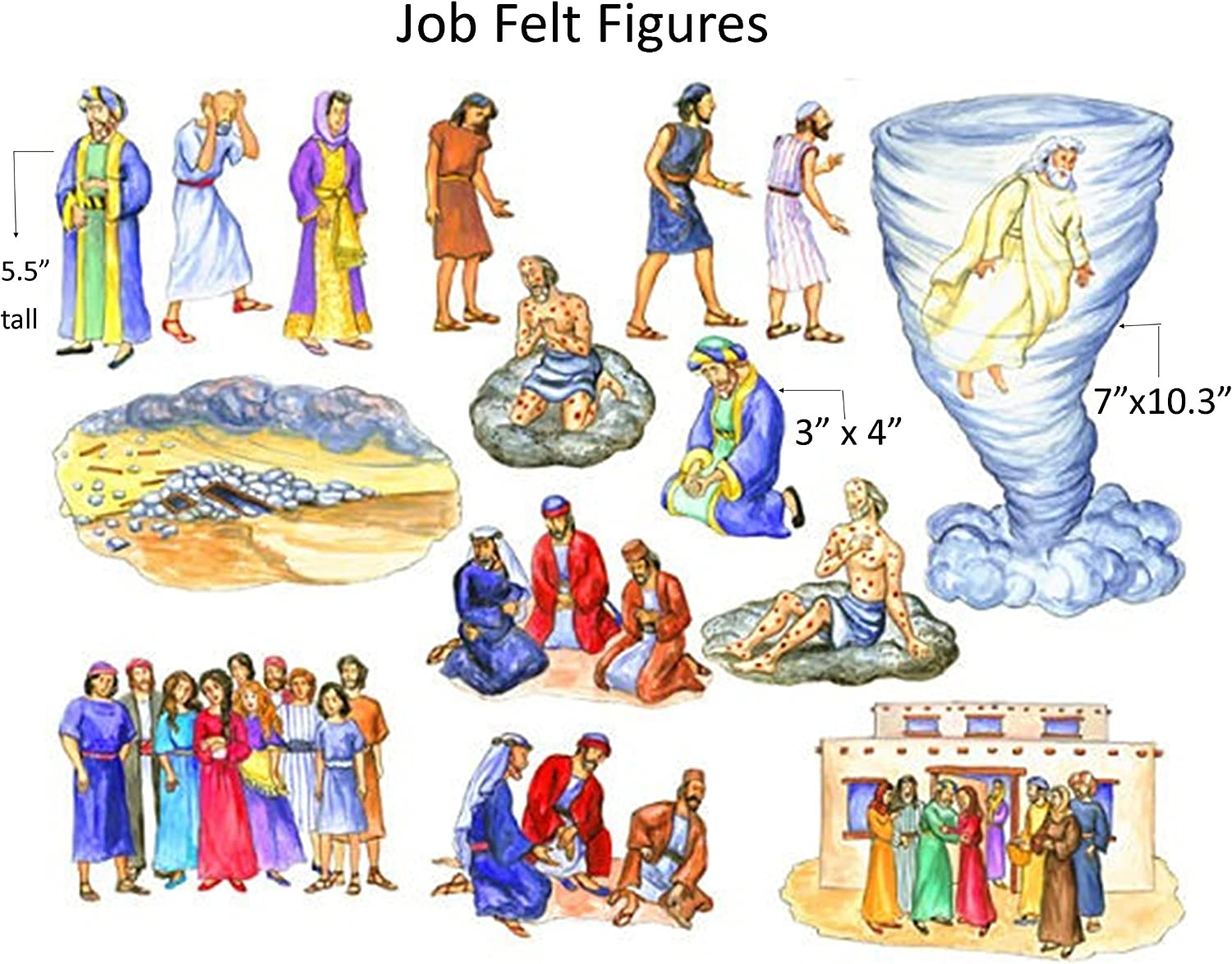 The Story of Job Felt Figures for Flannel Board Bible Stories-precut