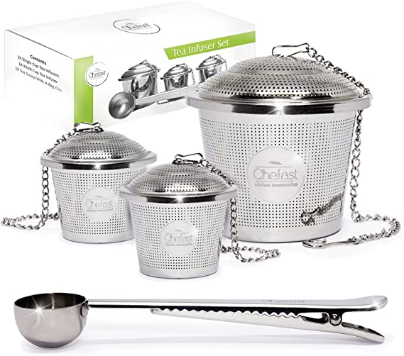 Tea Infuser Set by Chefast (2+1 Pack) - Combo Kit of 1 Large and 2 Single Cup Infusers