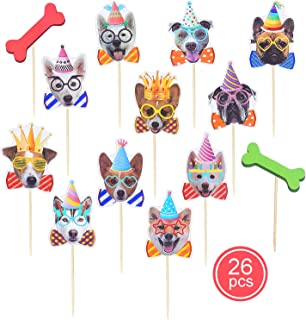 Dog cupcake toppers, Dog Themed Birthday Party Supplies Decorations, Since1989 26 Pcs Dog Face Cupcake Toppers for Dog Party Supplies Decorations