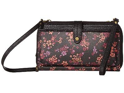 The Sak Iris Large Smartphone Crossbody (Black Folk Floral) Cross Body Handbags
