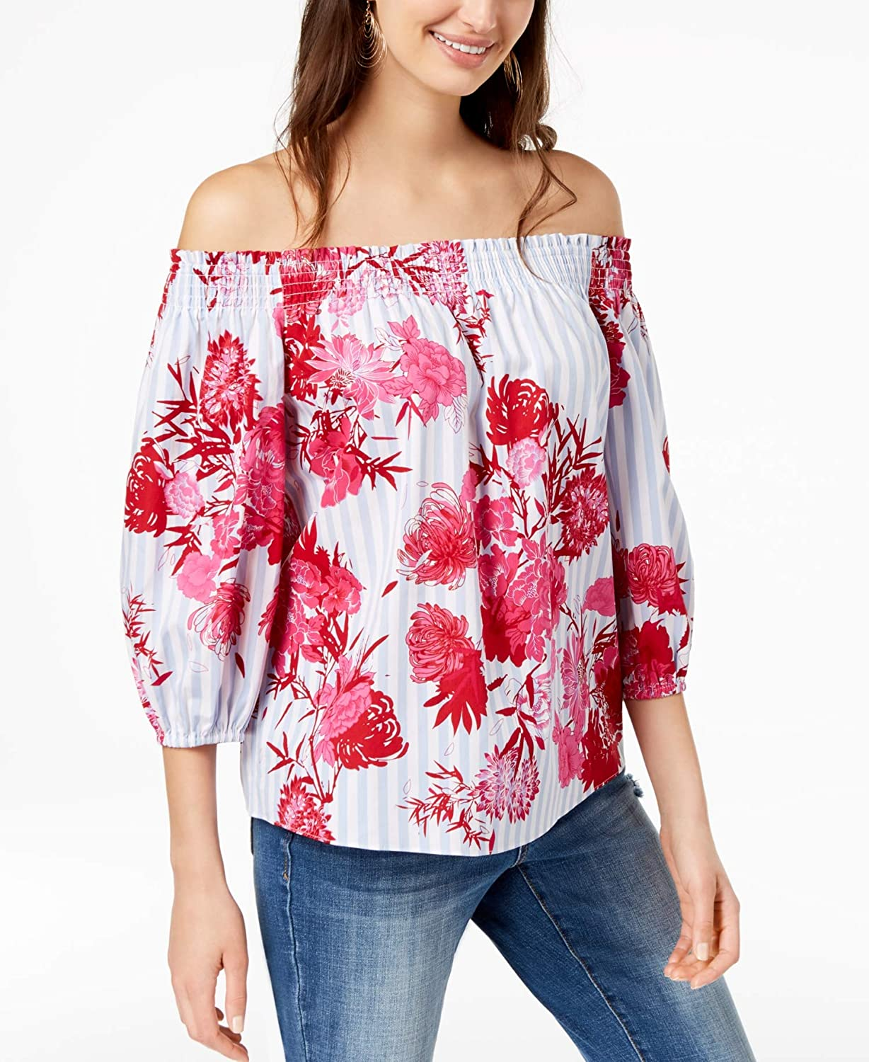 INC International Concepts I.N.C. MixedPrint OffTheShoulder Top