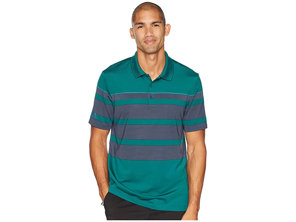 adidas Golf Ultimate Engineered Stripe Polo (Noble Green/Raw Green/Ash Silver) Men