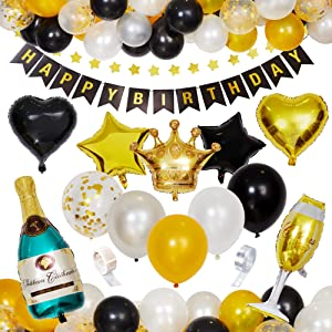 Birthday Party Banner Balloons Decoration:SMARTBEAN Black and Gold Birthday Decorations, Party Supplies,Party Decorations - Happy Birthday Banner, Party Decor for 30th 40th 50th 60th 70th