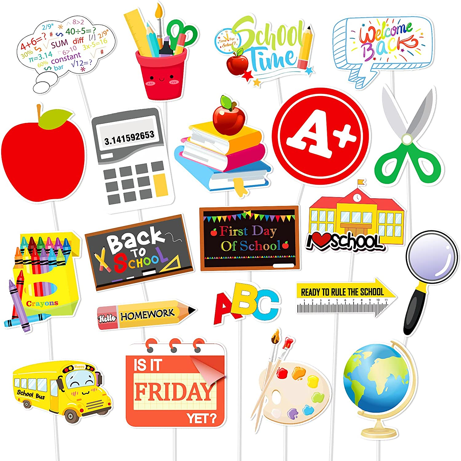 Konsait Back to School Cupcake Topper Decorations, 21pcs First Day of School Welcome Decorations, Apple Pencil Stationery Chalkboard for New Grade Celebrating Classroom Kindergarten Party Supplies