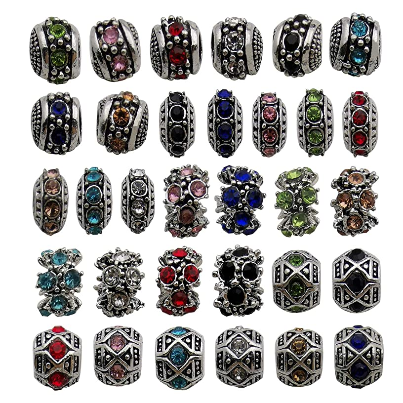 32pcs Mixed Color Alloy Rhinestone Large Hole Flower European Beads for Jewelry Making Bracelet Necklace M313