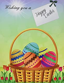Wishing You a Happy Easter: XL Greeting Card Notebook with Beautiful Easter Art Included; Easter Greeting Cards in Al; Easter Greeting Cards in Office; Easter Greeting Cards in Health; Easter Card in Office; Easter Card in Al; Easter Cards for Kids in A;l Easter Eggs in Al