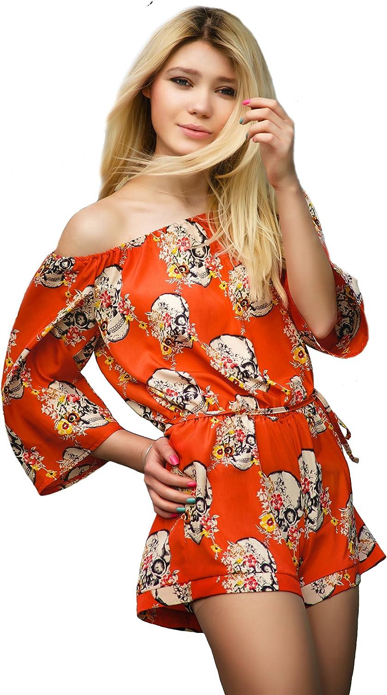 Van Gils Women Romper Bodysuit Jumpsuit Skull Flower Floral orange