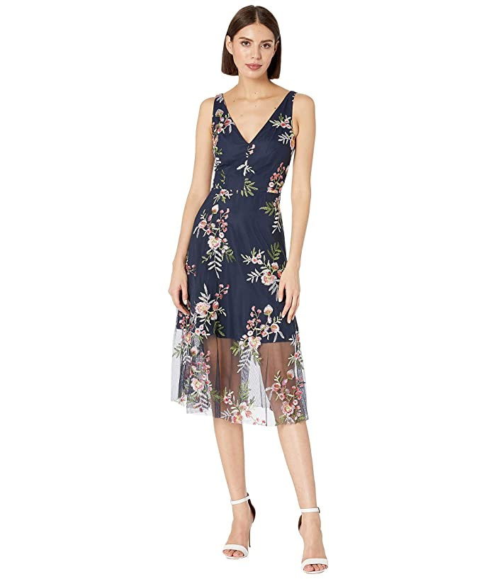 Vince Camuto Embroidered Mesh V-Neck Midi Dress (Navy Multi) Women