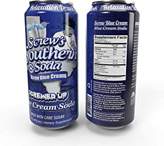 Screw's Southern Soda (Screw Blue Cream - Blue Cream Soda, 12 Pack - 16 Fl Oz Can)