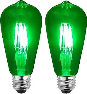 SleekLighting LED 4Watt Filament ST64 Green Colored Light Bulbs Dimmable – UL Listed, E26 Base Lightbulb – Energy Saving - Lasts for 25000 Hours - Heavy Duty Glass - 2 Pack