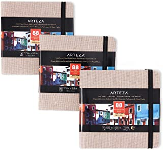 Arteza Watercolor Sketchbooks, 5.5x5.5-inch, 3-Pack, 132 Sheets, Beige Art Journal, Hardcover 110lb Paper Book, Watercolor Sketchbook for Use as Travel Journal and Mixed Media Pad