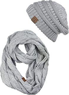 C.C Unisex Soft Stretch Chunky Cable Knit Beanie and Infinity Loop Scarf Set