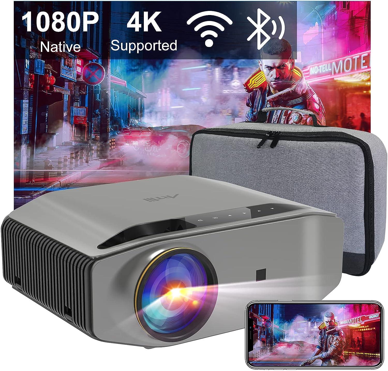 Proyector WiFi Bluetooth 340ANSI, Artlii Energon2 Proyector 1080P Nativo Full HD Soporta 4K, Soporta AC-3, para Smartphone Android/ iOS/PS5