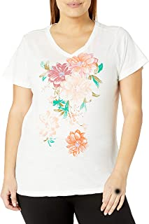 Lucky Brand Women's Plus Size Bouquet V Neck Tee