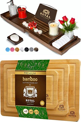 discount Luxury Bathtub Caddy Tray discount (Brown) and Cutting Board Set by Royal Craft outlet online sale Wood online