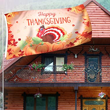Thanksgiving Flag Turkey Village Garden Yard Decor Flag Indoor Outdoor Thanksgiving Flag Large Polyester Holiday Flag for Dor