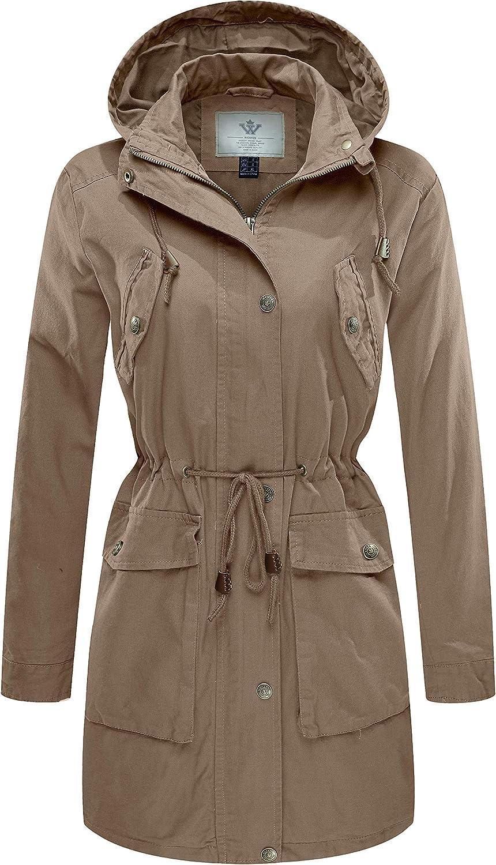 WenVen Women's Cotton Versatile Military Anorak Hooded Jacket Trench Coat