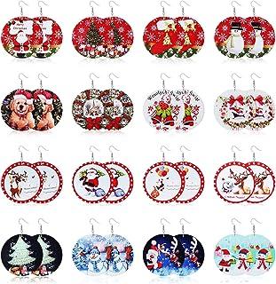 Adramata 16 pares Pendientes navideños para mujer, conjunto de pendientes colgantes de madera bonito árbol de Navidad muñe...