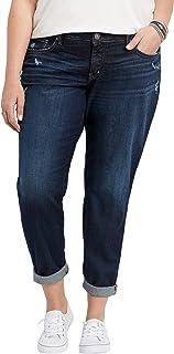 b99a3b59188 Silver Jeans Co. Women s Plus Size Boyfriend Relaxed Fit Jeans