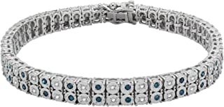 Sterling Silver Round Diamond Double Row Tennis Bracelets For Women (1 Ct), (J, Blue-Color), (I2-Clarity)