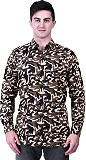TIGER EXPORTS Men's Cotton Formal Classic Collar Army Printed Full Sleeve Shirts
