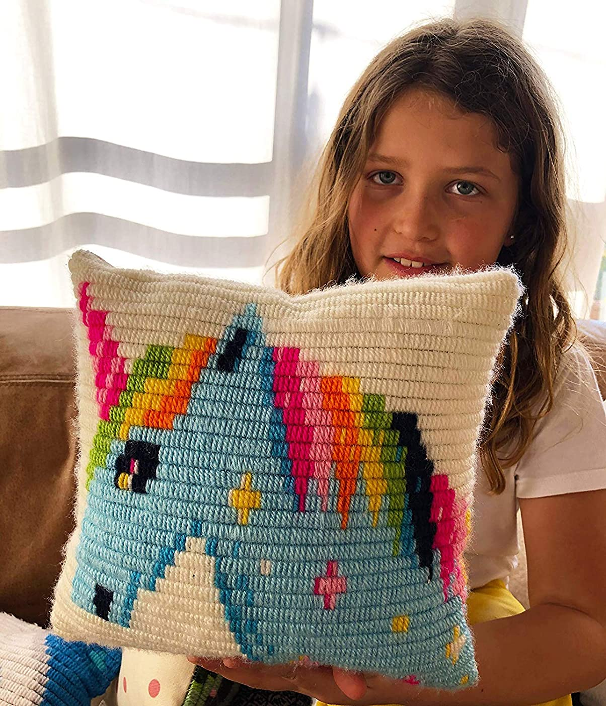 Original SOZO Embroidery/Needlepoint Kit for Kids and Beginners | Unicorn Design | an Ideal Gift for Unicorn Fans | Complete Kit Contains Everything You Need to Create a Unicorn Pillow