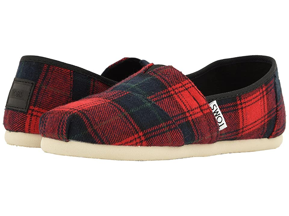 TOMS Kids Alpargata (Little Kid/Big Kid) (Red Tartan Plaid) Girl