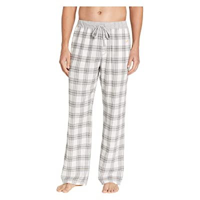 True Grit Dakota Plaid Flannel Pajama Pants with Heather Trim (Grey) Men