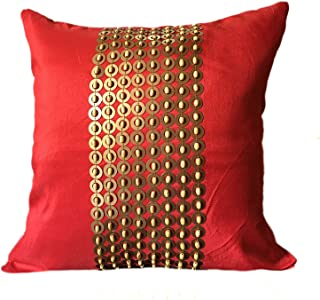 The White Petals Red Gold Decorative Pillow Cover with Gold Sequins and Wood Bead Embroidery in Panel Pattern (18x18 inch, Red)