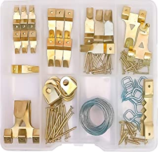 OPTNOOKS Assorted Picture Hangers | 120 Pieces Set Includes Heavy Duty Wall Hooks, Nails, Wire, Screws, D-Rings, and Sawto...