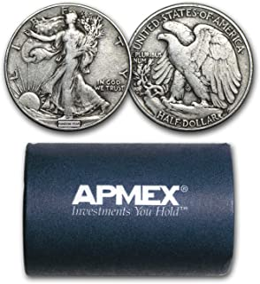 1916-1947 90% Silver Walking Liberty Halves $10 20-Coin Roll Avg Circ Silver Very Good