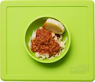 ezpz Happy Bowl - One-Piece Silicone placemat + Bowl (Lime)