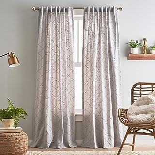 "Peri Home Mallorca Embroidery Back Tab Window Curtain Panel Pair, 84"", Silver/Natural"