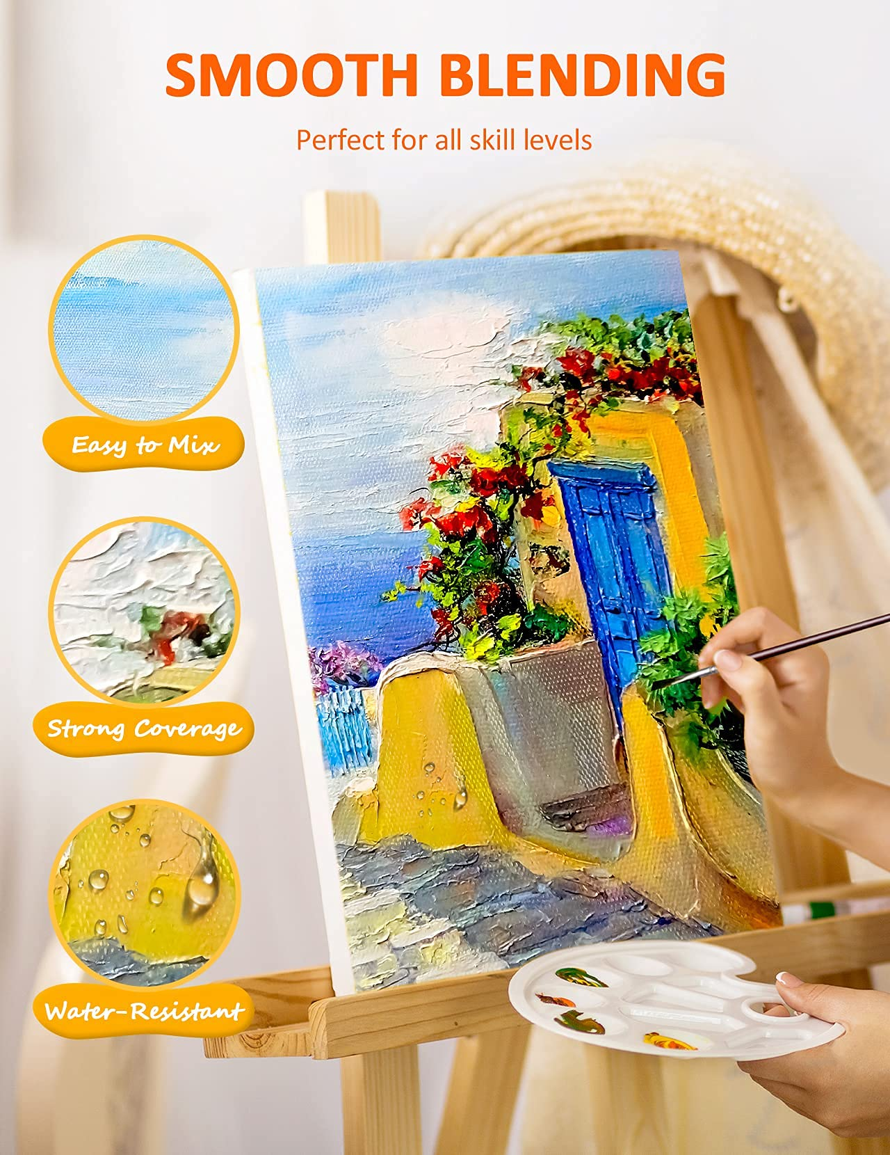 ATMOKO Acrylic Paint Set, Paint Set with 24 Paint Tubs, 3 Paintbrushes, 1 Palette, 1 Canvas,Perfect for Canvas, Wood, Ceramic, Fabric etc, Good Blending & Rich Pigments for Beginner Or Professional