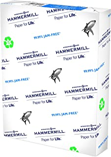 Hammermill Great White 100% Recycled 20lb Copy Paper, 8.5 x 11, 1 Ream 500 Sheets, Made in USA 92 Bright, Acid Free Printe...