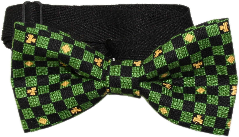 Men's Black Green Yellow Checkered Pre-Tied Adjustable Cotton Bow Tie