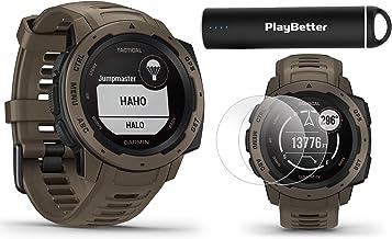 Garmin Instinct Tactical (Coyote Tan) Outdoor GPS Watch Power Bundle | with HD Screen..