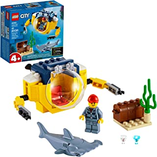 LEGO City Ocean Mini-Submarine 60263, Underwater Playset, Featuring a Toy Submarine, Pirate Treasure Chest, Hammerhead Shark Figure and a Pilot Minifigure, Great Gift for Kids, New 2020 (41 Pieces)