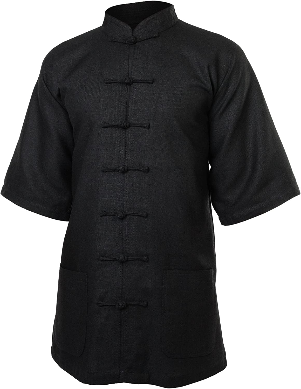 wu designs Lino (pesado) Kung Fu & Tai Chi Camiseta de cuello alto de manga corta – Traje Taiji