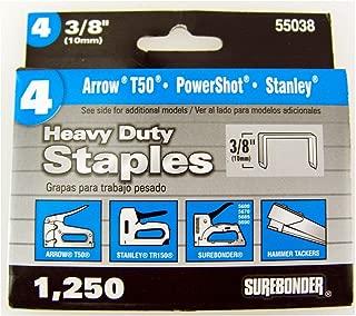 Surebonder 55038 Heavy Duty 3/8-Inch Length Staples, Arrow T50 Type, 1250 Count