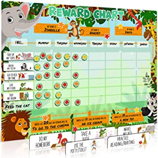 Large Safari Animal Magnetic Star/Reward Chart for Kids: Encourages Good Behaviour and Customisable with Choice of Magnets...