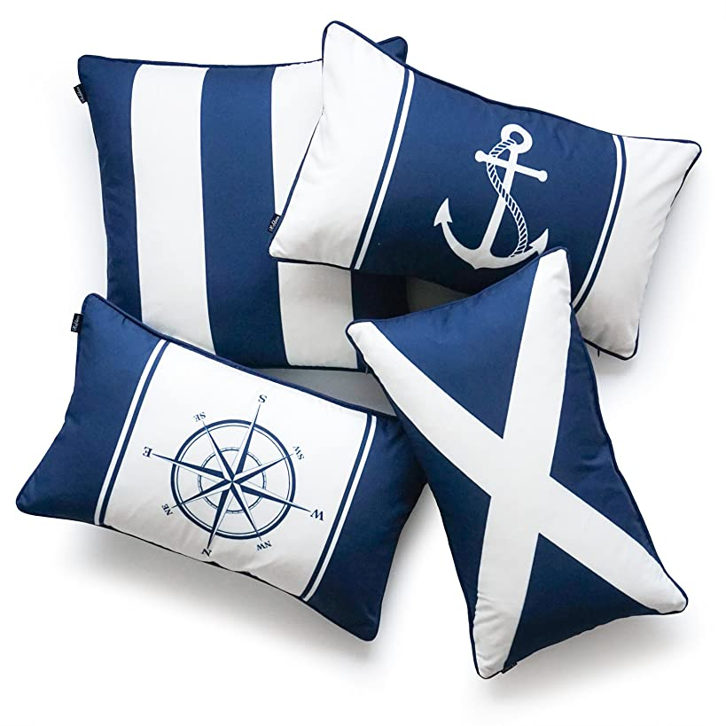 Hofdeco Nautical Indoor Outdoor Pillow Cover ONLY, Water Resistant for Patio Lounge Sofa, Navy Blue Flag Anchor Compass Stripes, 18