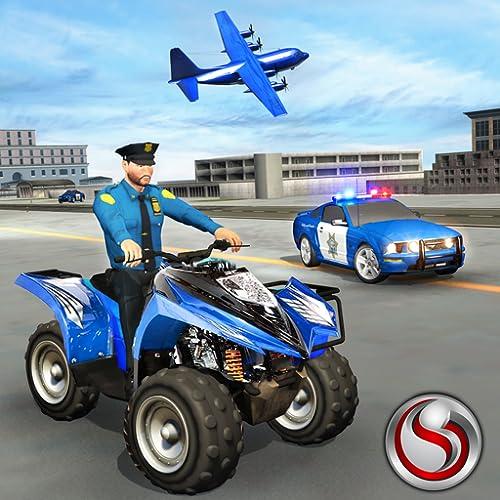 uns Polizei ein Fernseher Viereck Fahrrad Ebene Transport Spiel