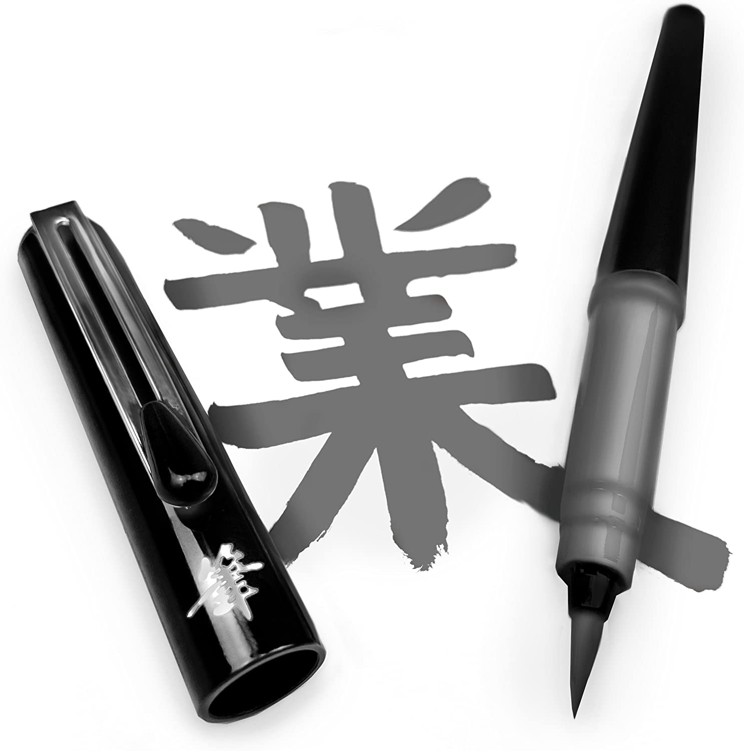 Pentel Refillable Pocket Year-end annual account Brush Pen - Gray 2 with Ink Cartridges Max 57% OFF