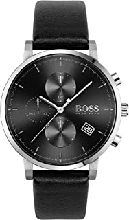 Hugo Boss Black Dial Black Leather Watch For Men