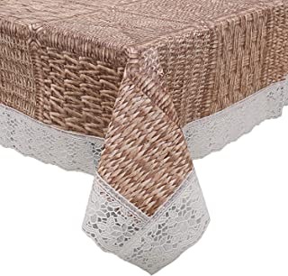 Kuber Industries Checkered Design PVC 4 Seater Centre Table Cover (Brown) -CTKTC14358