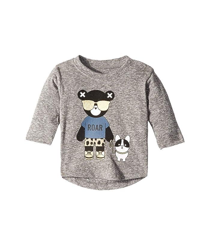 HUXBABY Hux Bulldog Long Sleeve Top (Infant/Toddler) (Charcoal Slub) Kid