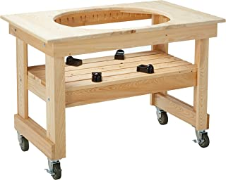 Primo 602 Compact Cypress Wood Table for Primo Oval XL Grill, 4 Wheels